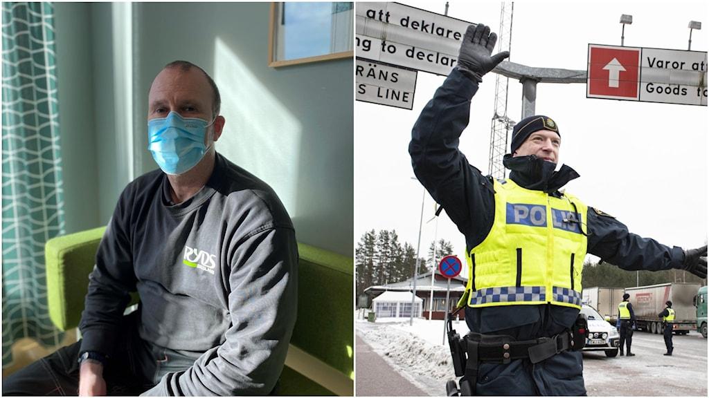 En man med munskydd och en polis vid tullen.