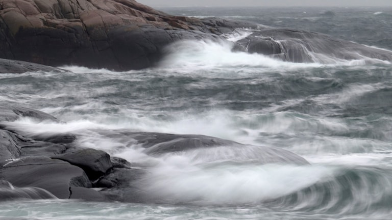 Storm vid Tjurpannans naturreservat i Bohuslän 2 januari 2015