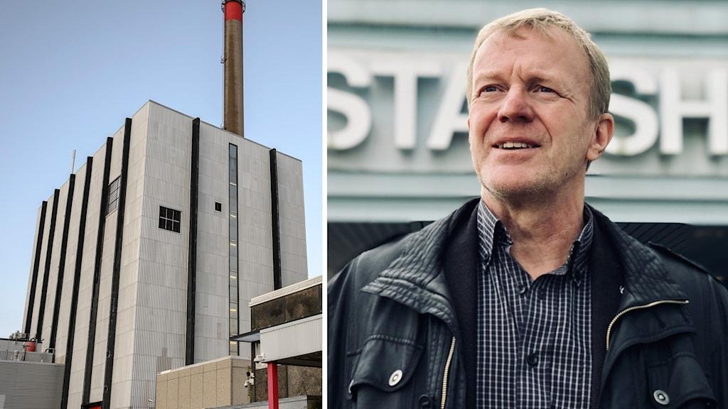 Delad bild med Ingvar Samuelson utanför stadshuset, kärnkraftverket Ringhals