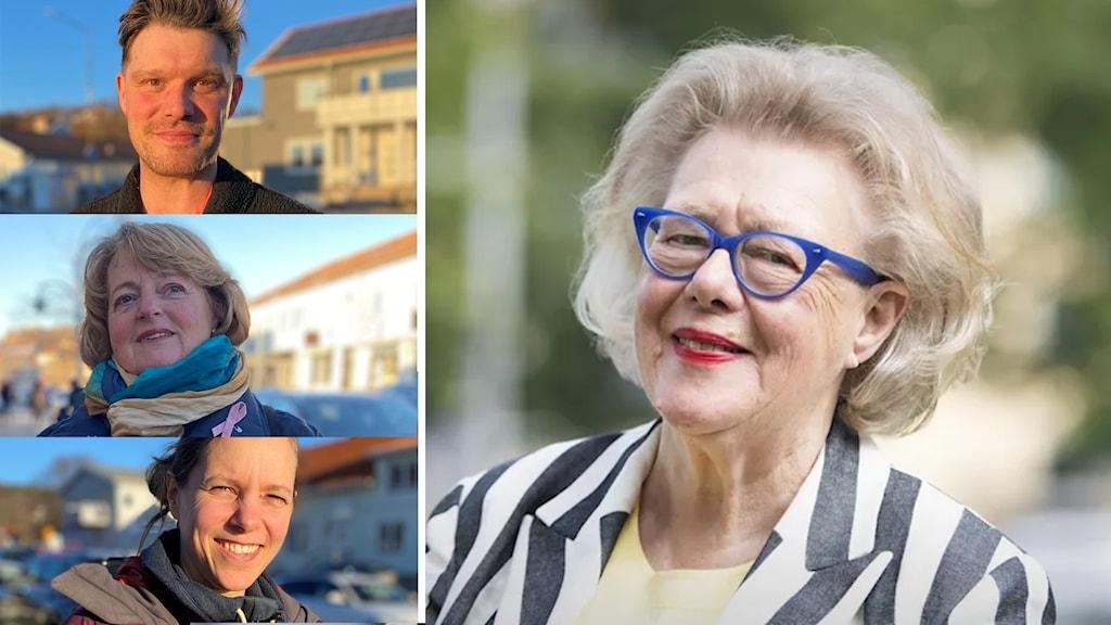 Till höger en stor bild på Birgitta Rasmusson, till vänster tre intervjupersoner som minns henne.