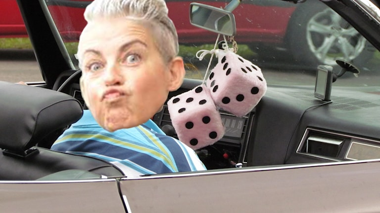 Bild på Therese McDonalds ansikte inklippt i en bil.