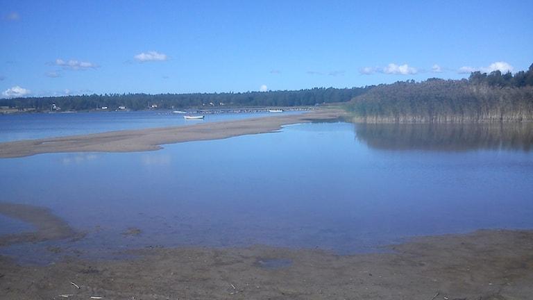 Lågvatten på stranden.