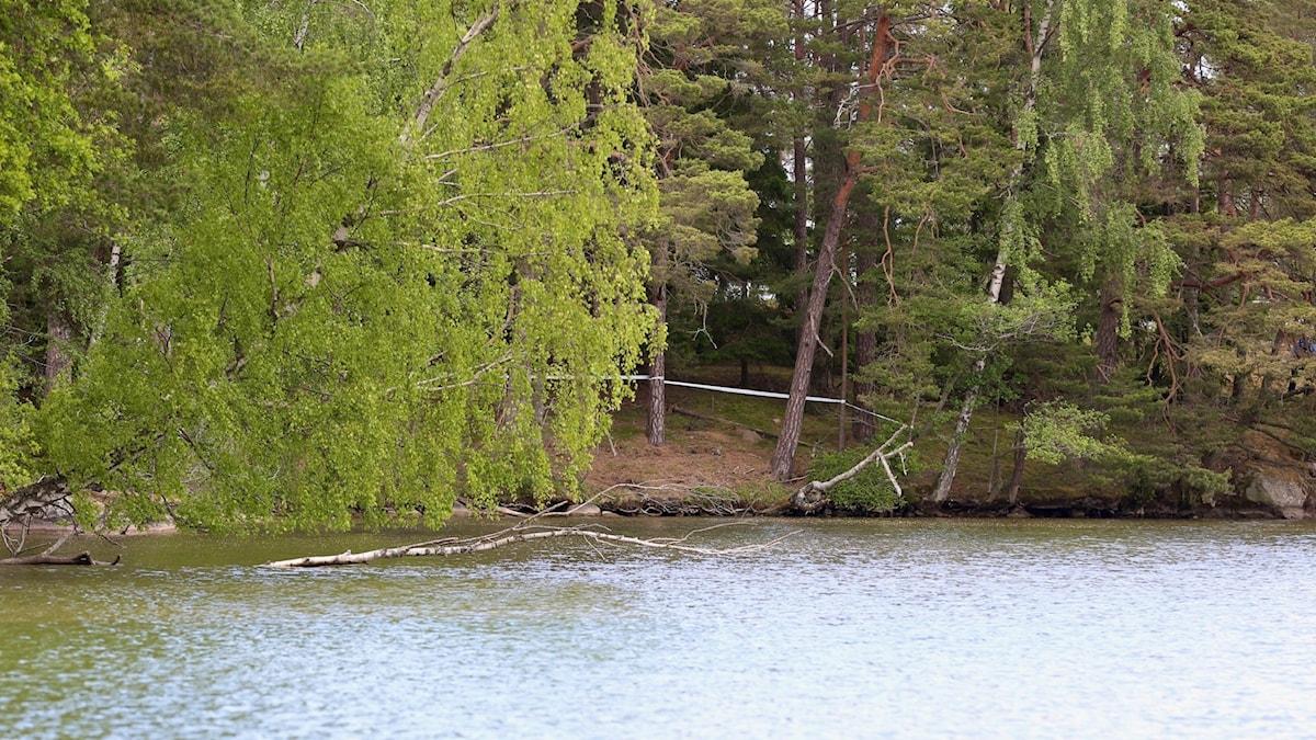 Det avspärrade området på Långön i Trollhättan.