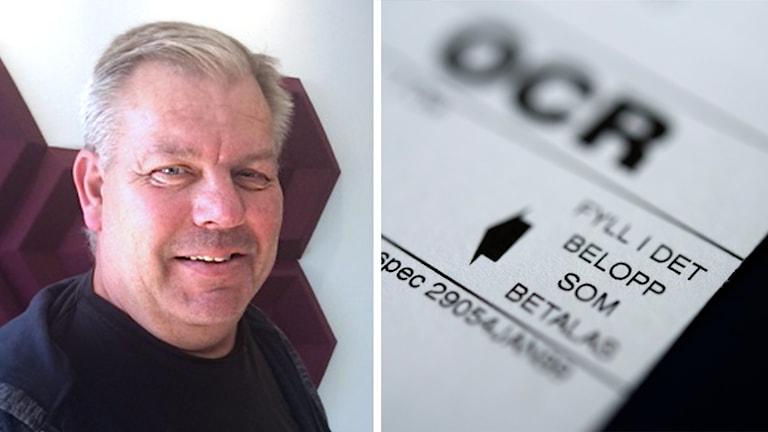 En bild på Pelle Lekberg och en inklippt bild på en del av en räkning