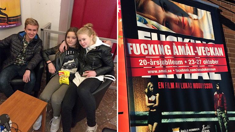 David Svenske, Ella Hardin och Frida Grahn ska se Fucking Åmål för första gången.