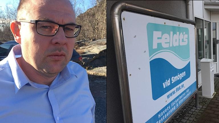 Mikael Feldt vid sidan av skylt på Feldts fisk