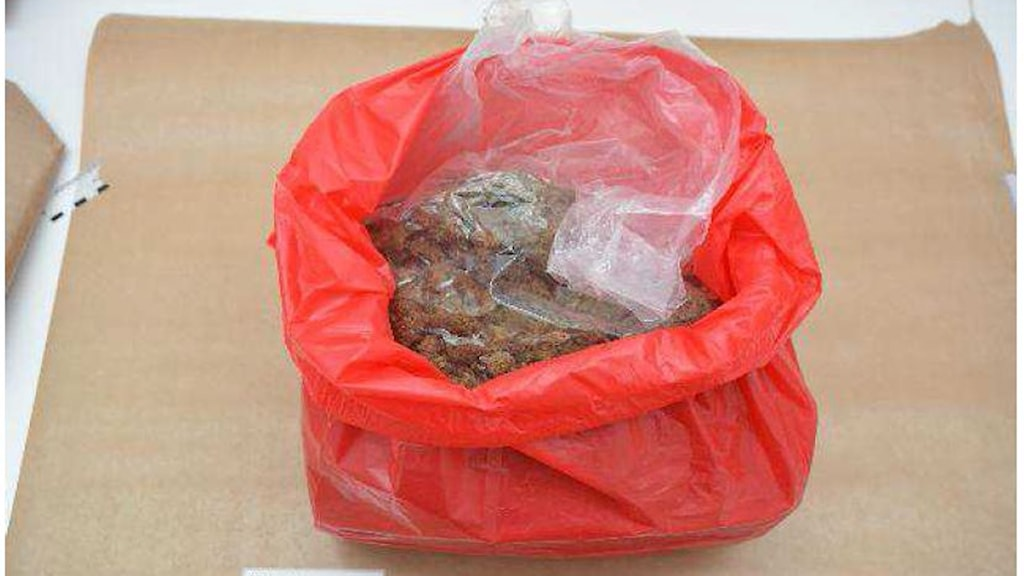 Polisens beslag. Syns cannabis i stor mängd i en röd plastpåse.