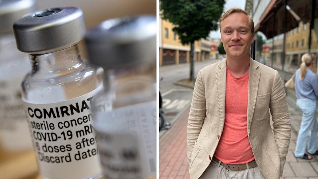 Jesper Olsson är inte riktigt i åldersgruppen än, men gläds över att vaccineringen går framåt.