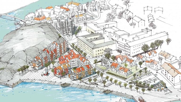 Så är det tänkt att nya bostadsområdet i Strömstad ska se ut.