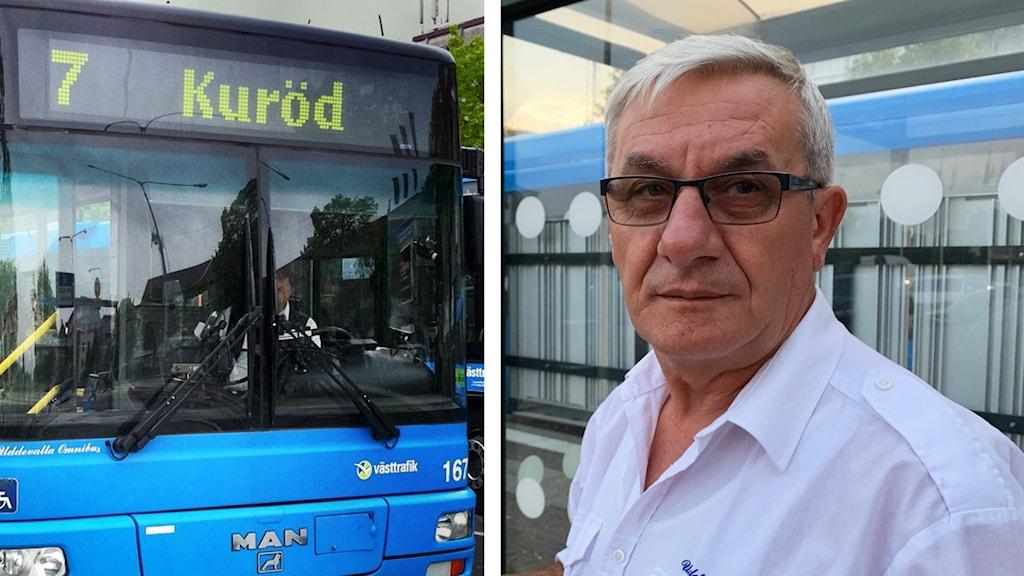 Collage: buss och busschaufför.