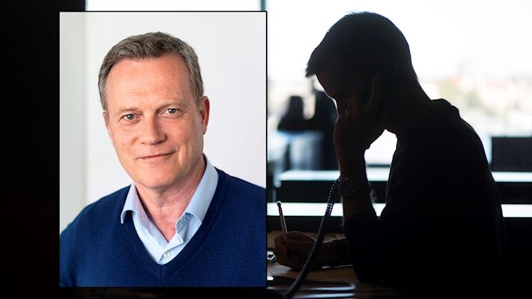 Ansiktsbild på per larsson, inklippt framför ett kontorsbild.