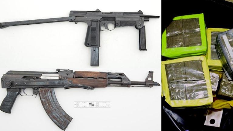 automatvapen och beslagtagen cannabis
