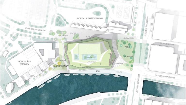 Kulturhus Situationsplan. Bild: Uddevalla Kommun