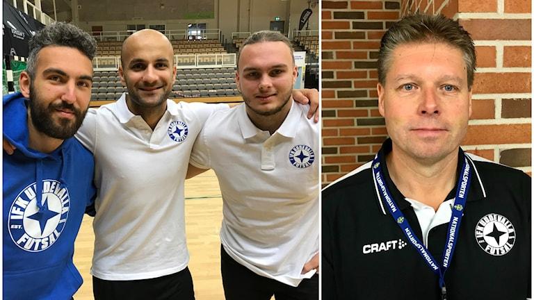 Till vänster: Spelarna Emilio Rossi, Mosaddiq Zekria och Fillip Skarin. Till höger: IFK Uddevallas futsal-ansvarige Tommy Rasimus.