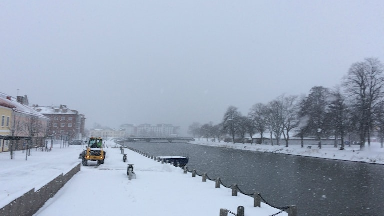 Bild på snöfall över Vänersborg