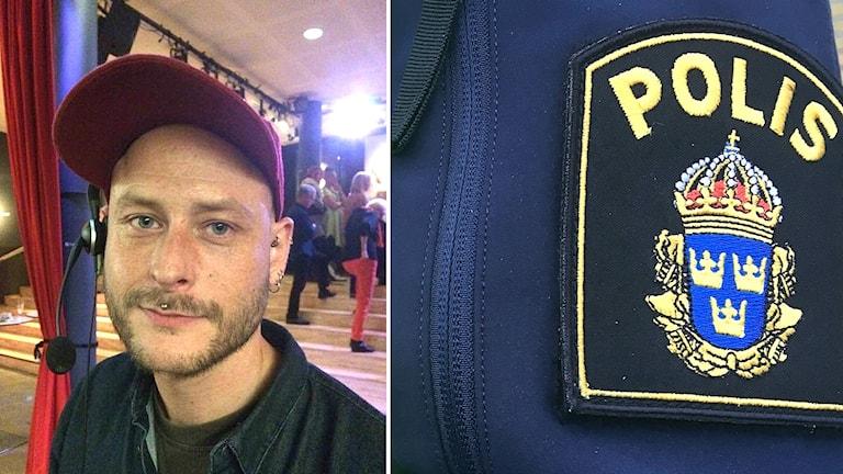 Fotomontage som visar försvunne Magnus Natschki och ett polismärke.