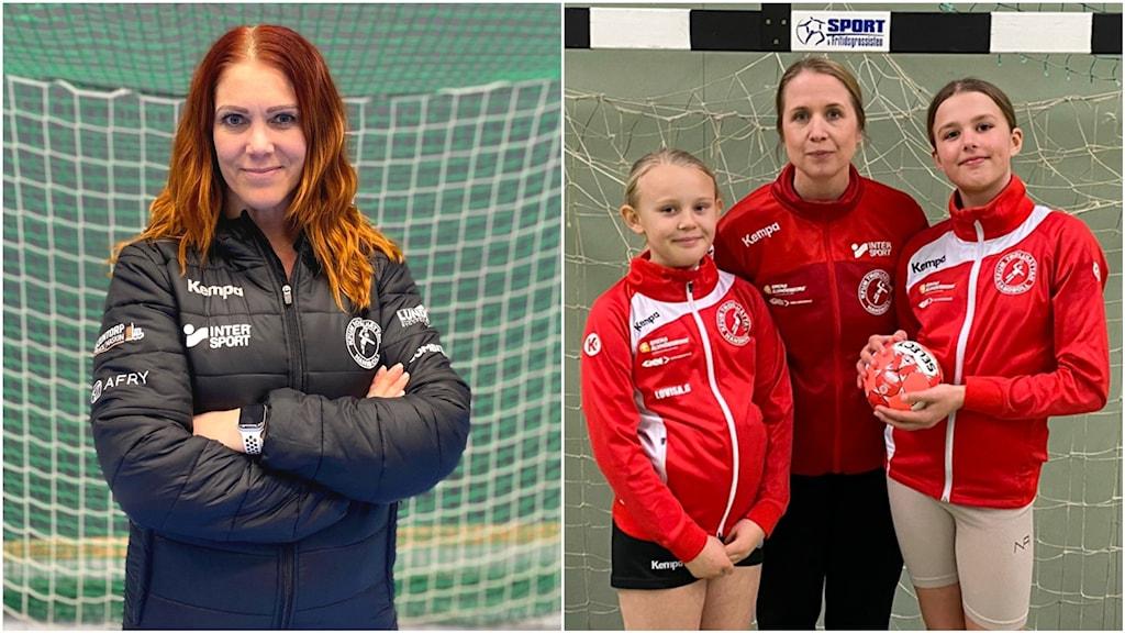 Bild 1: En kvinna på handbollsplan. Bild 2: Två flickor och en tränare vid ett handbollsmål.