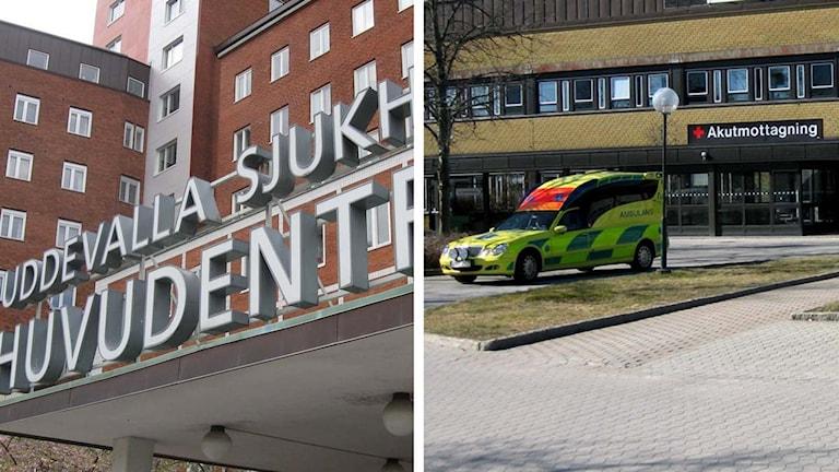 Uddevalla sjukhus och Näls akutmottagning. Foto: Peter Olsson och Cecilia Bergil/Sveriges Radio.