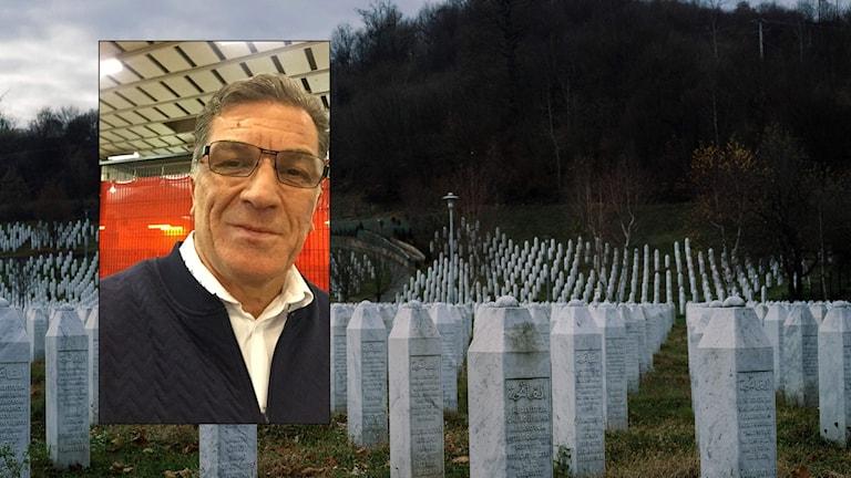 Hilmia Draganovic på infälld bild framgår monument i Bosnien.