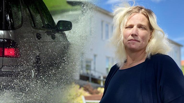 Susanne Jacobsson, trafikingenjör på Sotenäs kommun. Hon småblundar eftersom det blåser rätt i ansiktet på henne. Håret är lite huller om buller, också på grund av motvind. Förövrigt blond.