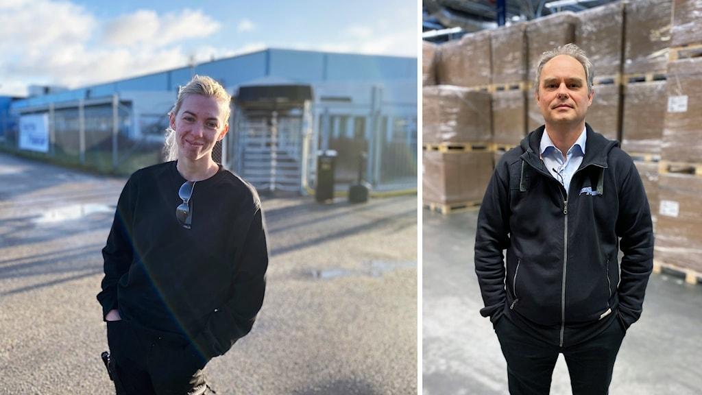 Tova Eriksson utanför Spectra och Stefan Janols inne i fabriken.