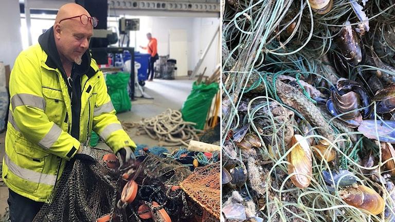 Marin återvinning Tomas Kjällqvist sorterar fiskenät