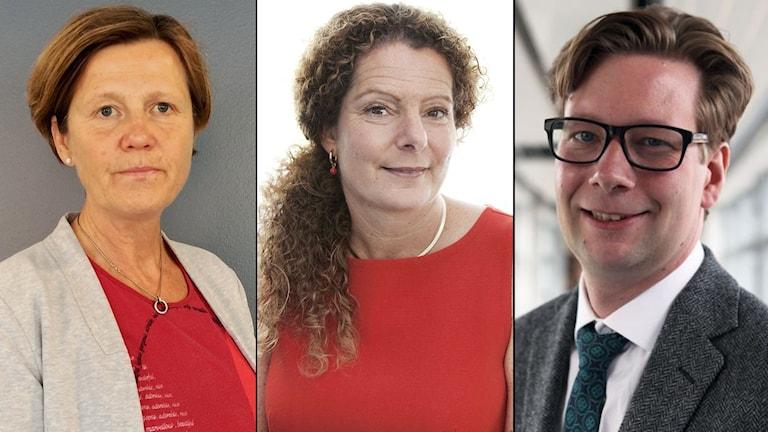 Mediecheferna Ingalill Sundhage och Cilla Benkö, forskaren Fredrik Sjögren