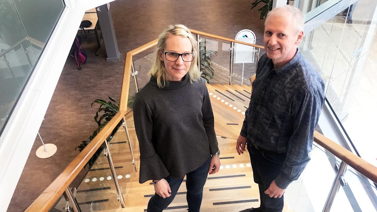 Alisia Johansson och Arne Arvidsson på Arbetsförmedlingen i Trollhättan är positiva till dagens nyhet om att Nevs ska tillverka bilar i Trollhättan.