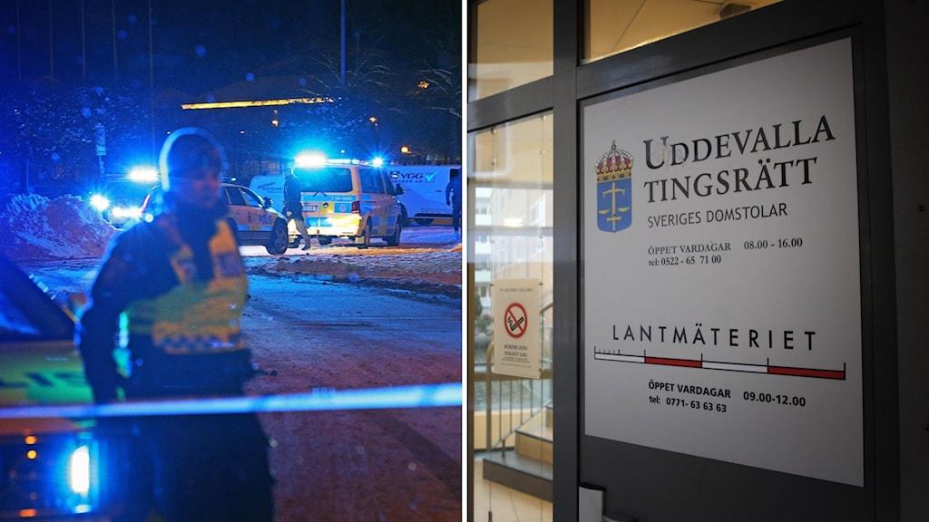Montage av två bilder. Till vänster: bild som togs i samband med knivmordet i södra hamnen i Uddevalla, det är mörkt och en polis står vid en avspärrning. Till höger: En bild utanför Uddevalla tingsrätt.