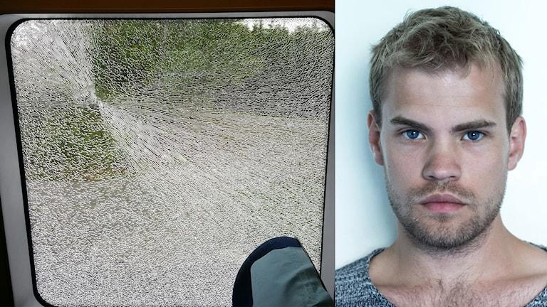 Tågresenären Rikard Björk hörde två skott. Därefter krossades fönstret i tågkkupén.