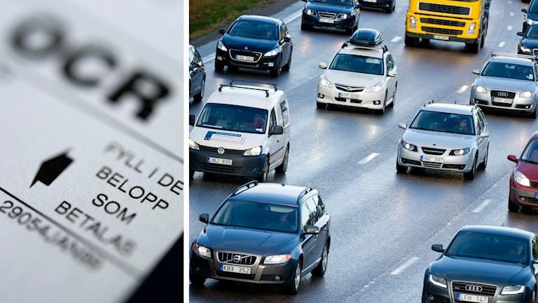 Närbild på en detalj på en räkning bredvid en bild på trafikerad motorväg.