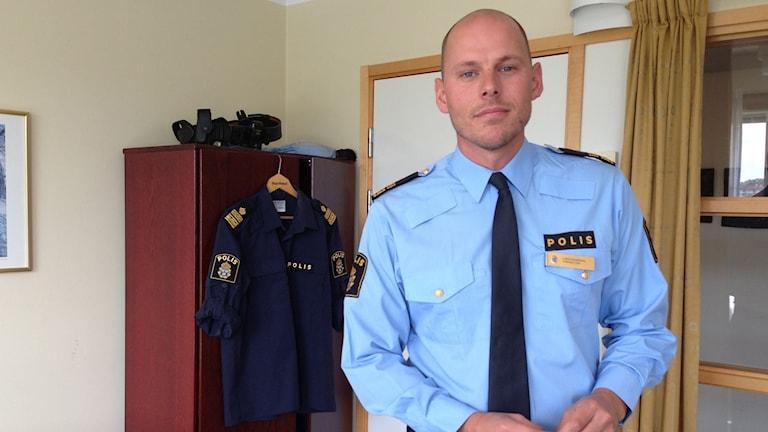 Polisen Lars Eckerdal i sitt arbetsrum