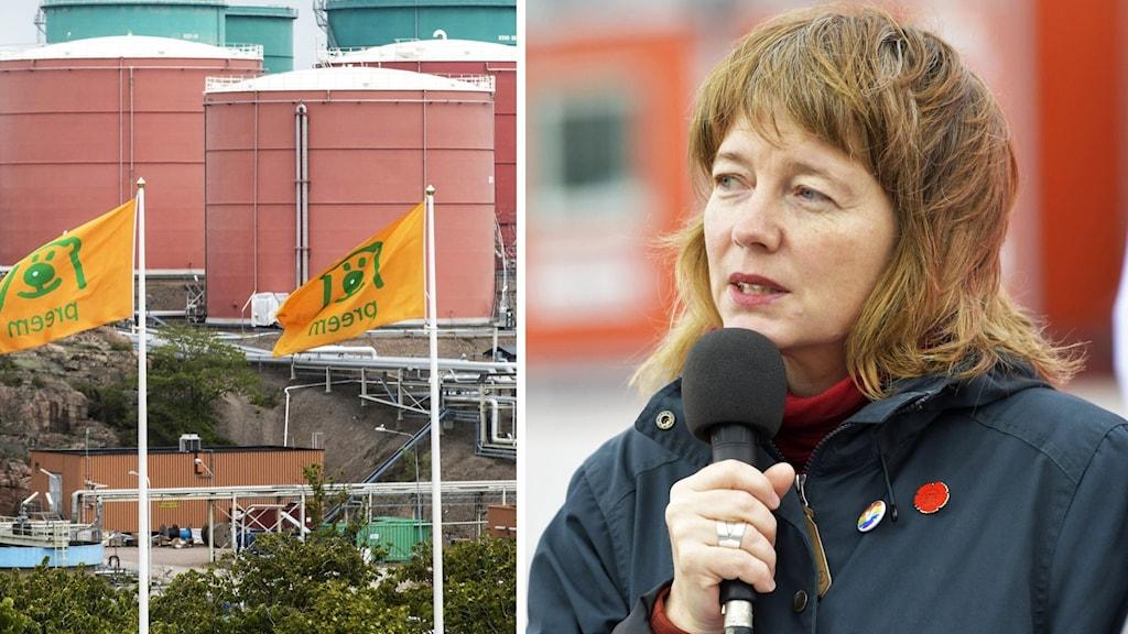 Collage: flaggor med Preem-loggan utanför raffinaderiet och EU-parlamentarikern Malin Björk (V).