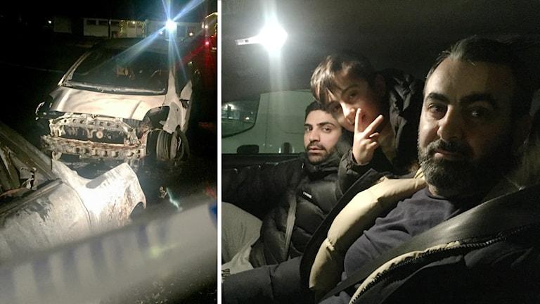 Utbrända bilar. Samt bild på Daniel och Bashir i en bil. Även en liten pojke sitter i bilen, han lutar sig fram till framsätet. Det är kolsvart mörket.