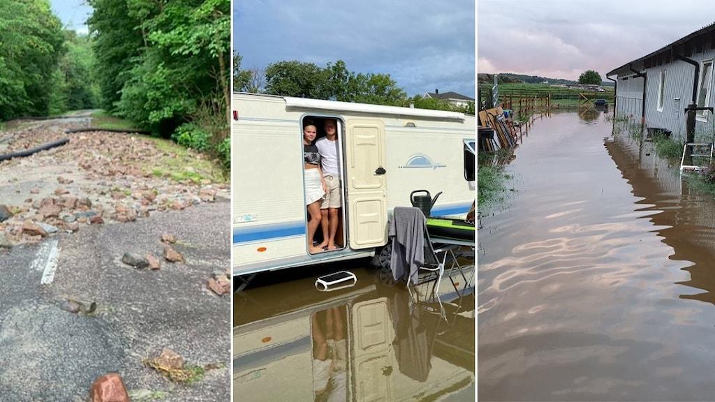 Splitbild översvämning på camping, inrasad väg och översvämmad går.