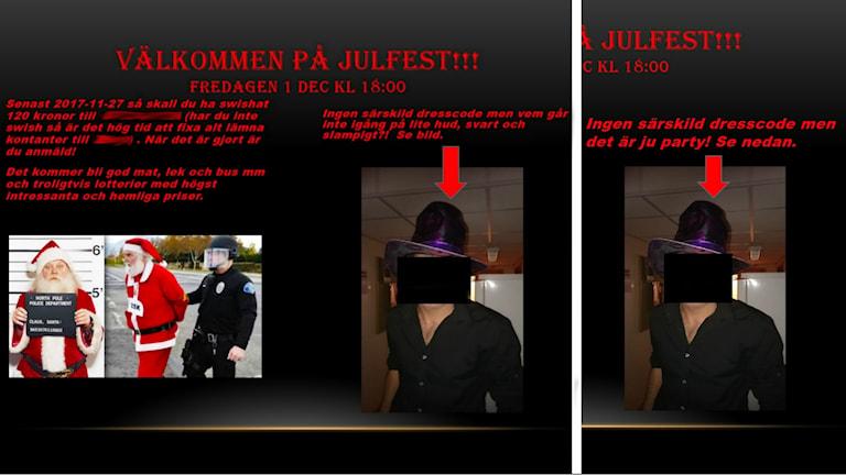Den äkta inbjudan som skickades mellan poliserna. På bild syns en man som bär hatt, klädd i svart. Hans ansikte är pixlat så att man inte ser vem det är. Näst intill syns en tomte som på låtsas blir gripen av polis. På