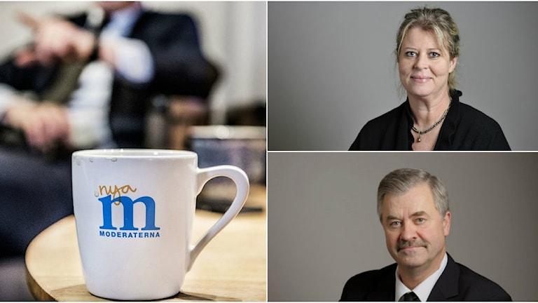 Kollage på både Lars-Arne staxäng, Camilla Waltersson Grönvall och till vänster ser man en bild på en moderatmugg