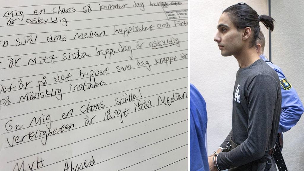Bildsplitt. Bild 1: Tishko Ahmeds brev till Högsta domstolen. Bild 2: Tishko Ahmed i handfängsel i rätten.