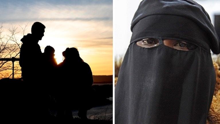 Generisk bild på en familjs siluetter som tecknar sig i solnedgången. Plus bild på IS-kvinnan från vårt område. Inget syns förutom ögonen. Hon har på sig en burka.