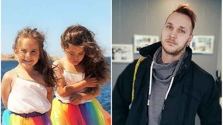 kollage på tvillingarna i var sin regnbågsfärgad kjol och till höger ser man Michael Borg