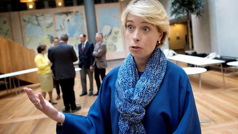 Socialförsäkringsminister Annika Strandhäll tillsammans med pensionsgruppen på socialdepartementet.