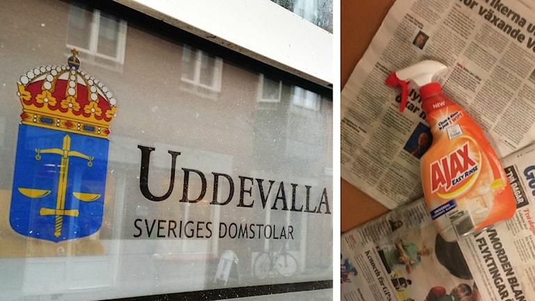 Bild på Uddevalla tingsrätt och ajax flaska.