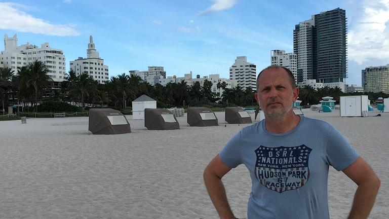 Martin Gunnarsson på Miami Beach.