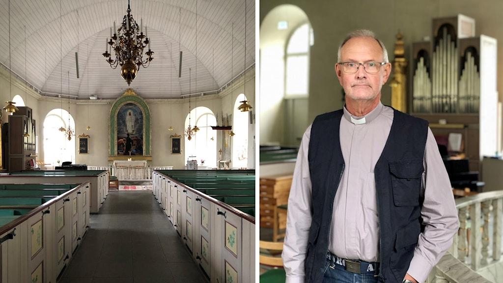 Ett kollage. Den vänstra bilden föreställer insidan av Herrestad kyrka med altartavla och bänkar. Den högra är ett porträtt av kyrkoherde Ingvar Humlén. Han har på sig en ljus skjorta med prästkrage och svart väst.