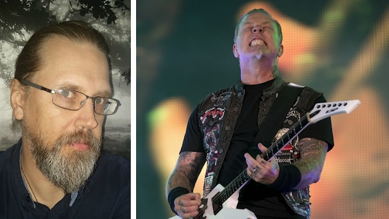 Bild på Martin Norlin i hästsvans och Metallica med gitarr.