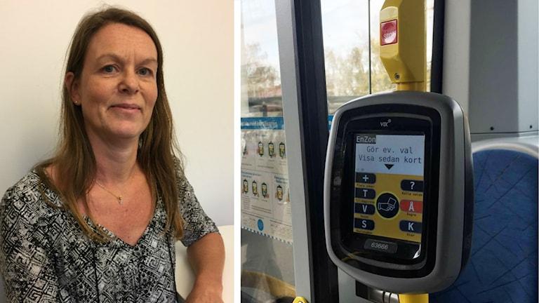 Det är en delad bild. På bildet till höger syns Michaela Shaw, hon är affärschef på Västtrafik. Hon ler lite på bilden och lutar sig mot ett armstöd. Hon är medelålders och brunhårig. Till vänster syns biljettmaskinerna och den ökända ångra-knappen. Den som ställt till med mycket problem för bussförarna.