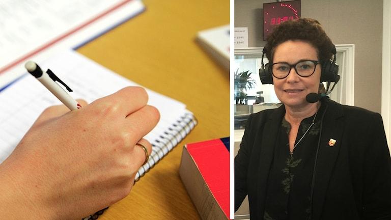 En bild på en bok och kommunpolitikern Liselotte Fröjd (M).