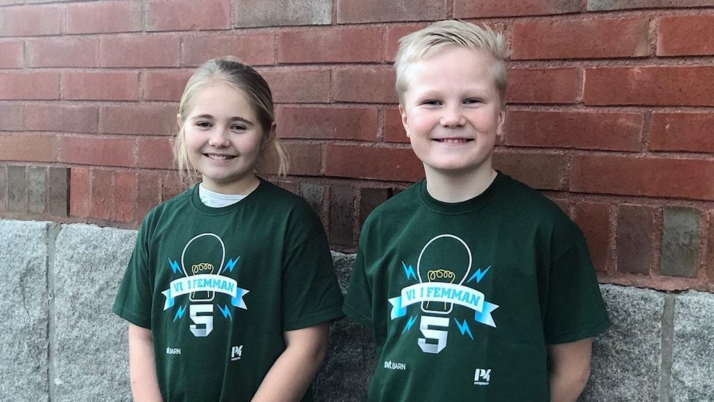 Daniela Zinnerström och Arild Swärd från Skaftö skola tog sig vidare till semifinal i Vi i femman.