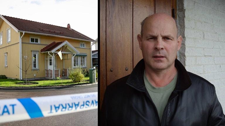 Till vänster syns polishuset i Västerås, där skjutningen ägde rum. Till höger ser man Raymond Coleman: en sammanbiten man. Han är flintskallig och bär en svart jacka.