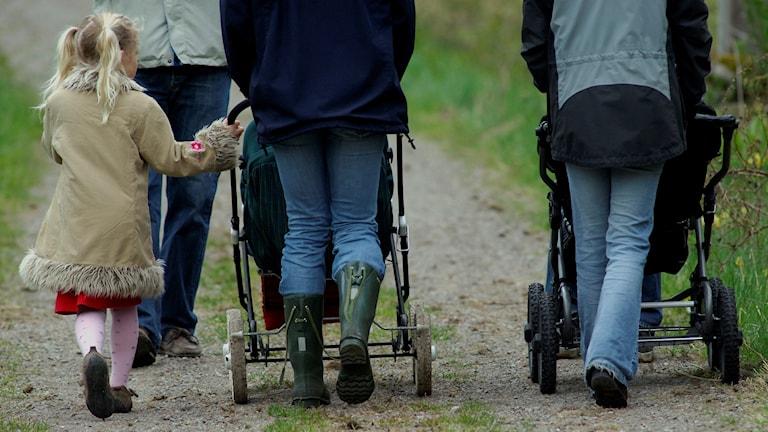 Tre vuxna och ett barn på promenad med barnvagnar.